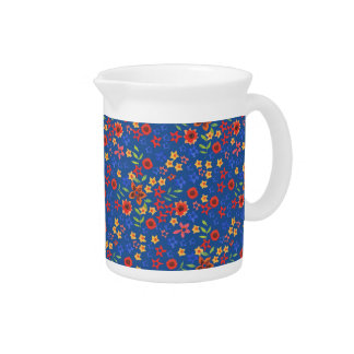 Chic Retro Floral Print on Blue Pitcher or Jug