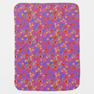 Chic Retro Floral Print on Magenta Baby Blanket