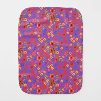 Chic Retro Floral Print on Magenta Baby Burp Cloth