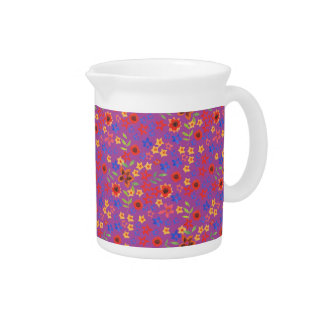 Chic Retro Floral Print on Magenta Pitcher or Jug