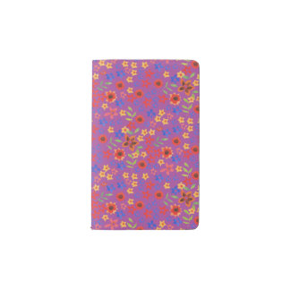 Chic Retro Floral Print on Magenta Pocket Notebook