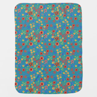Chic Retro Floral Print on Teal Baby Blanket