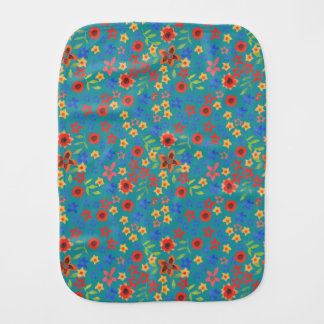 Chic Retro Floral Print on Teal Baby Burp Cloth