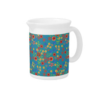 Chic Retro Floral Print on Teal Pitcher or Jug