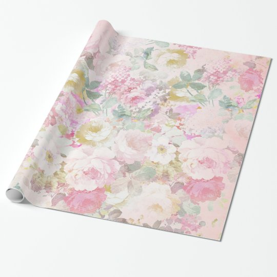 Chic retro pink white watercolor floral pattern wrapping