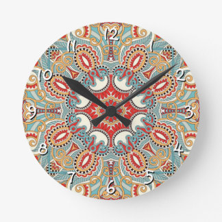 Chic Retro Red Turquoise Teal Kaleidoscope Pattern Round Clock