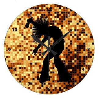 Chic Retro Singer Dancer Gold Mirror Tiles Large Clock