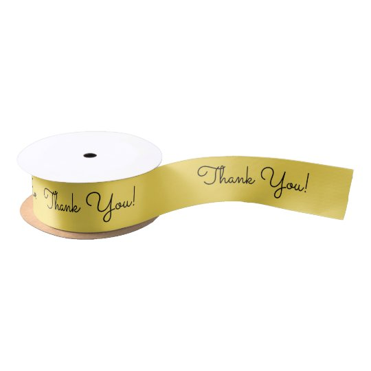 "CHIC RIBBON_""Thank You!"" BUTTER YELLOW Satin Ribbon"