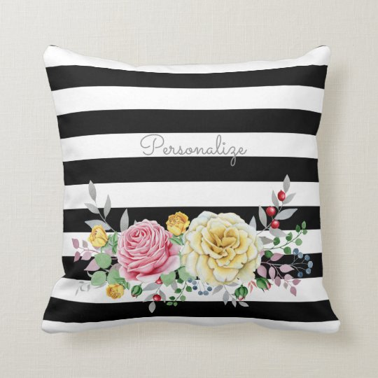 Chic Rose Floral Trendy Black Stripes and Name