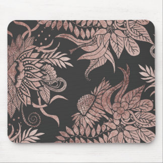 Chic Rose Gold and Black Floral Drawings Mouse Pad