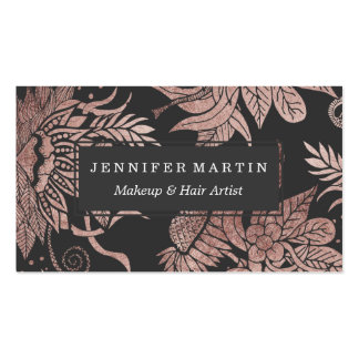 Chic Rose Gold and Black Floral Drawings Pack Of Standard Business Cards