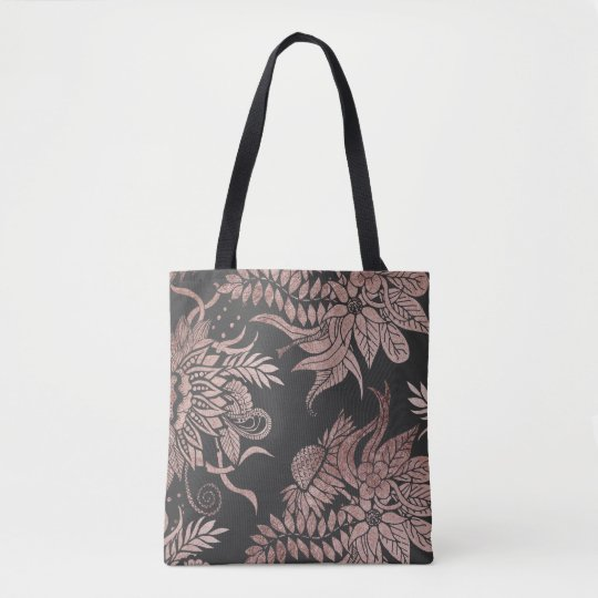 Chic Rose Gold and Black Floral Drawings Tote