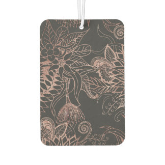 Chic Rose Gold and Black Flowers Leaves Car Air Freshener