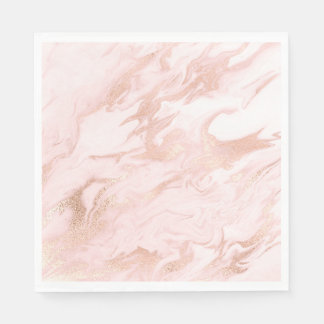 Chic Rose Gold and Blush Marbled Paper Napkins Disposable Napkin