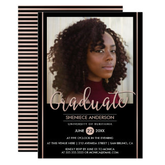 Chic Rose Gold & Black Graduation | Custom Photo Card