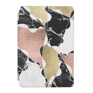 Chic rose gold black white marble color block iPad mini cover