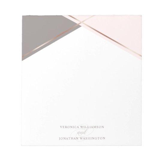 Chic Rose Gold & Blush Pink Geometric Wedding