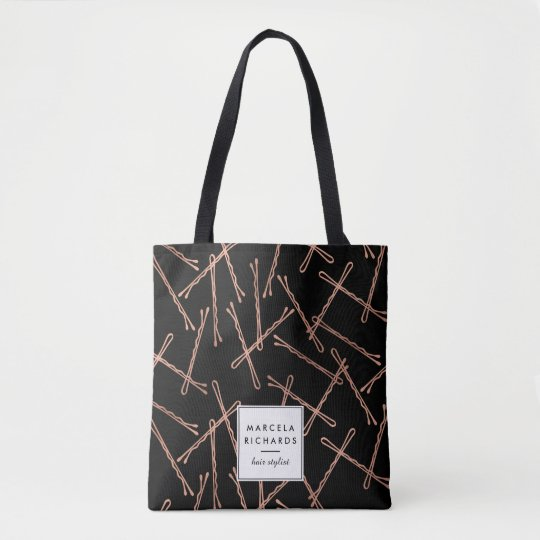 Chic Rose Gold Bobby Pins Black Personalised Tote