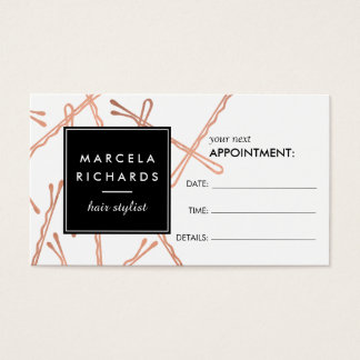 Chic Rose Gold Bobby Pins Hair Salon Appointment Business Card