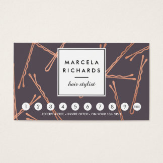 Chic Rose Gold Bobby Pins Hair Salon Gray Loyalty Business Card