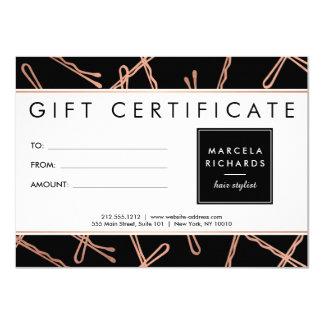 Chic Rose Gold Bobby Pins Hair Stylist Black Gift 11 Cm X 16 Cm Invitation Card