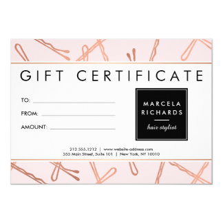 Chic Rose Gold Bobby Pins Hair Stylist Pink Gift Card