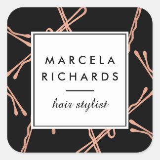 Chic Rose Gold Bobby Pins Hair Stylist Salon Black Square Sticker