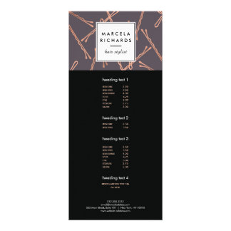 Chic Rose Gold Bobby Pins Hair Stylist Salon Gray Full Color Rack Card