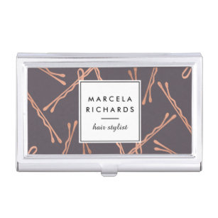 Hair salon business card holders cases zazzle chic rose gold bobby pins hair stylist salon grey business card holder reheart Image collections