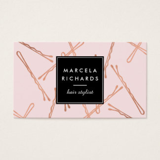 Chic Rose Gold Bobby Pins Hair Stylist Salon Pink Business Card