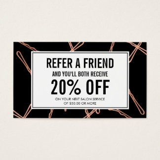 Chic Rose Gold Bobby Pins on Black Referral Card