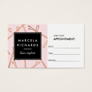 Chic Rose Gold Bobby Pins on Pink Appointment Business Card