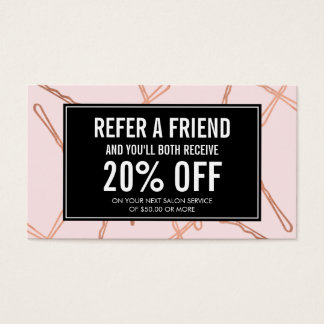 Chic Rose Gold Bobby Pins on Pink Referral Card