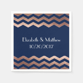 Chic Rose Gold Chevron Cocktail Napkins Disposable Serviette