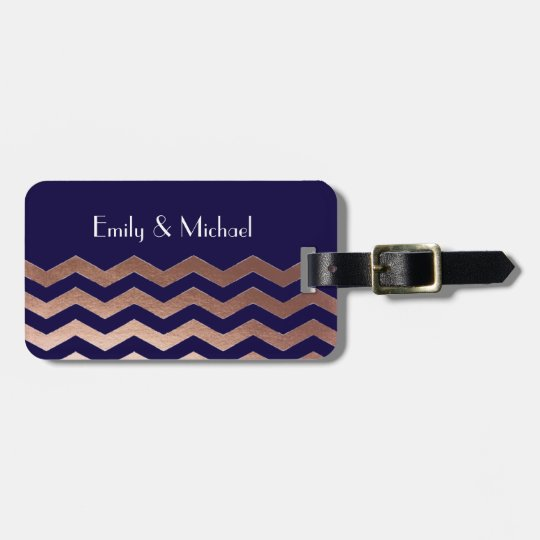 Chic Rose Gold Chevron Newlywed Luggage Tag