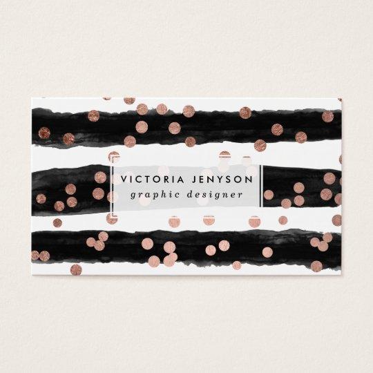 Chic rose gold confetti black watercolor stripes business card