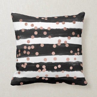 Chic rose gold confetti black watercolor stripes cushion