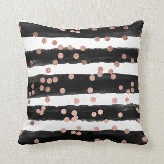 Chic rose gold confetti black watercolor stripes cushion