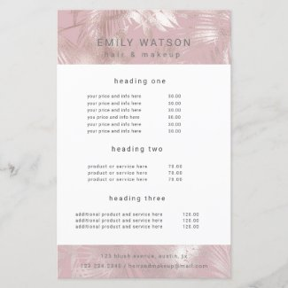 chic rose gold faux foil service and price flyer