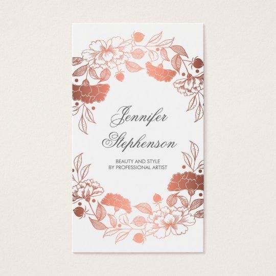Chic Rose Gold Floral Elegant and Vintage Business