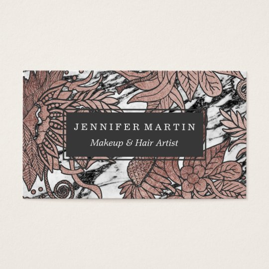 Chic Rose Gold Flowers Leaves and Modern Marble Business Card