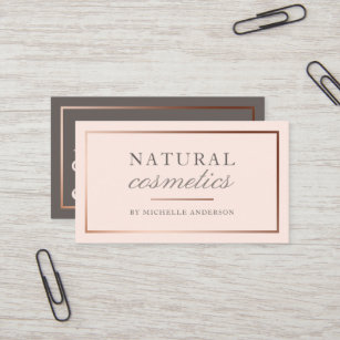 Natural cosmetics business cards zazzle uk chic rose gold foil blush pink natural cosmetics business card colourmoves