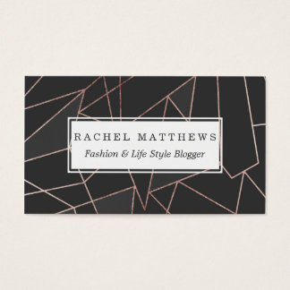 Chic Rose Gold Geometric Outline on Black Charcoal Business Card