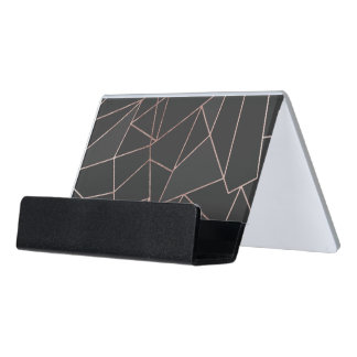 Chic Rose Gold Geometric Outline on Black Charcoal Desk Business Card Holder