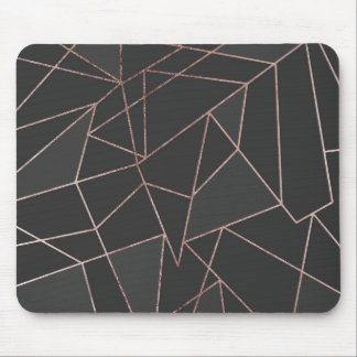Chic Rose Gold Geometric Outline on Black Charcoal Mouse Mat