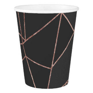 Chic Rose Gold Geometric Outline on Black Charcoal Paper Cup