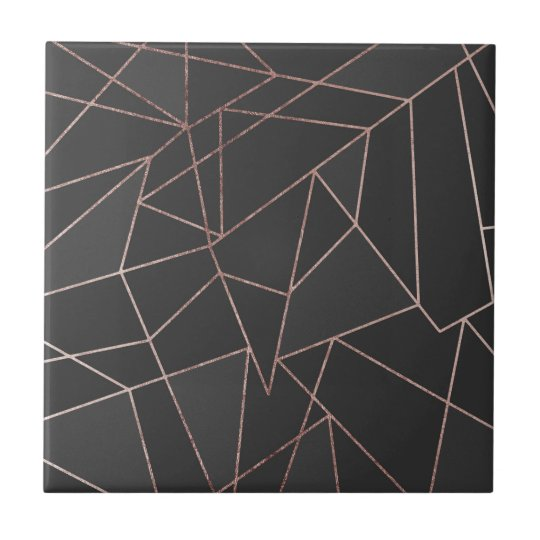Chic Rose Gold Geometric Outline on Black Charcoal