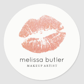Chic Rose Gold Lips Makeup Artist Classic Round Sticker