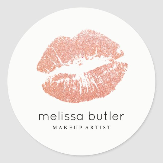 Chic Rose Gold Lips Makeup Artist Classic Round