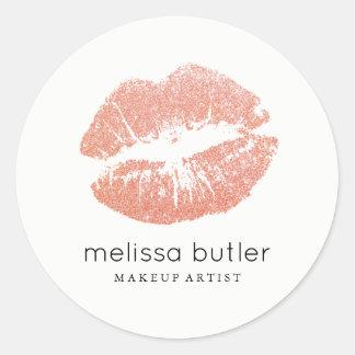 Chic Rose Gold Lips Makeup Artist Round Sticker